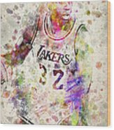 Magic Johnson Wood Print by Aged Pixel
