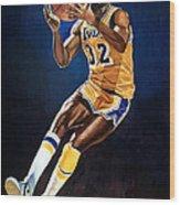 Magic Johnson - Lakers Wood Print by Michael  Pattison