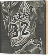 Magic Johnson - Legends Series Wood Print by David Courson
