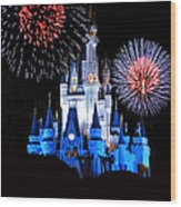 Magic Kingdom Castle In Blue With Fireworks Wood Print