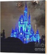 Magic Kingdom Castle In Deep Blue With Fireworks Wood Print