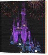 Magic Kingdom Castle In Purple With Fireworks 01 Wood Print