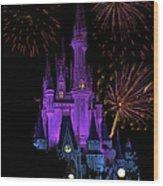 Magic Kingdom Castle In Purple With Fireworks 02 Wood Print