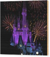 Magic Kingdom Castle In Purple With Fireworks 03 Wood Print