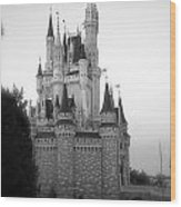 Magic Kingdom Castle Side View In Black And White Wood Print