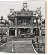 Magic Kingdom Train Station In Black And White Walt Disney World Wood Print