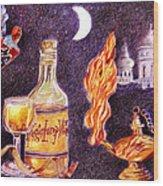 Magic Lamp Wine Wood Print