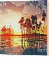 Magic Sunset In Clouds Wood Print