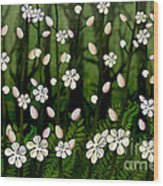 Magical Blooms Of The Deep Forest Wood Print