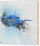 Magical Blue 1- Abstract Art Wood Print by Ismeta Gruenwald