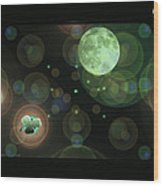 Magical Moonlight Clover Wood Print