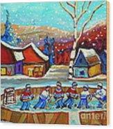 Magical Pond Hockey Memories Hockey Art Snow Falling Winter Fun Country Hockey Scenes  Spandau Art Wood Print