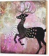 Magical Reindeers Wood Print