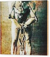 Magician Harry Houdini In Chains   Wood Print by Jennifer Rondinelli Reilly - Fine Art Photography