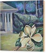 Magnolia In Moonlight Wood Print by Ellen Howell