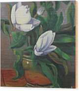 Magnolias On Brass Wood Print by Lilibeth Andre