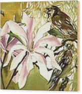 Magnolias With Sparrows Wood Print