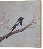 Magpie On Cherryblossm Tree Wood Print