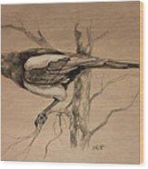Magpie Sketch Wood Print