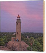 Mahabalipuram Lighthouse India At Sunset Wood Print
