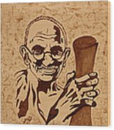 Mahatma Gandhi Coffee Painting Wood Print