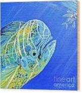 Mahi Mahi And Flying Fish Wood Print
