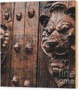 Mahogany Lion Heads Wood Print