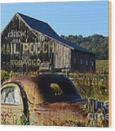 Mail Pouch Barn And Old Cars Wood Print