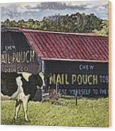 Mail Pouch Barn With Cow Wood Print