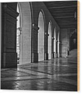 Main Building Arches University Of Texas Bw Wood Print