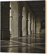 Main Building Arches University Of Texas Wood Print