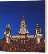 Main Building Of Moscow State University At Winter Evening - 5 Wood Print