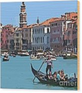 Main Canal Venice Italy Wood Print