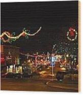 Main St. Christmas Lights Wood Print