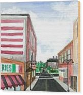 Main St. Is White-washed Windows And Vacant Stores Wood Print by Jeremiah Iannacci