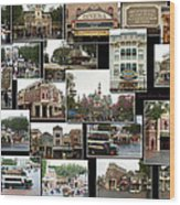 Main Street Disneyland Collage 02 Wood Print