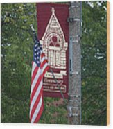 Main Street Flags Dwight Il Wood Print