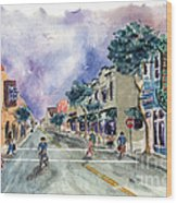 Main Street Half Moon Bay Wood Print by Diane Thornton