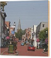 Main Street In Downtown Annapolis Wood Print
