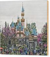 Main Street Sleeping Beauty Castle Disneyland 01 Wood Print