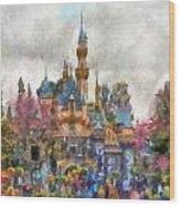 Main Street Sleeping Beauty Castle Disneyland Photo Art 02 Wood Print