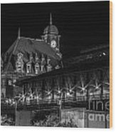 Main Street Station In Black And White Wood Print