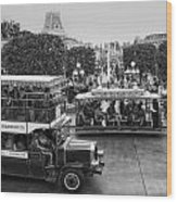 Main Street Transportation Disneyland Bw Wood Print