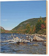maine 1 Acadia National Park Jordan Pond in Fall Wood Print