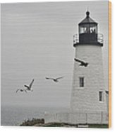 maine 11 Pemaquid Lighthouse Before Storm I Wood Print