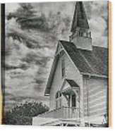 Maine Coast Church Wood Print