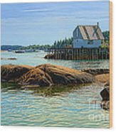 Maine Fishing Port Wood Print