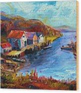 Maine Harbor Wood Print