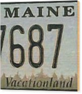 Maine License Plate Wood Print