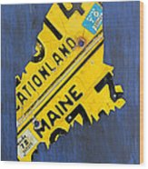 Maine License Plate Map Vintage Vacationland Motto Wood Print